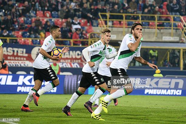 Alessandro Matri of US Sassuolo celebrates after scoring a goal during the Serie A match between Bologna FC and US Sassuolo at Stadio Renato Dall'Ara...