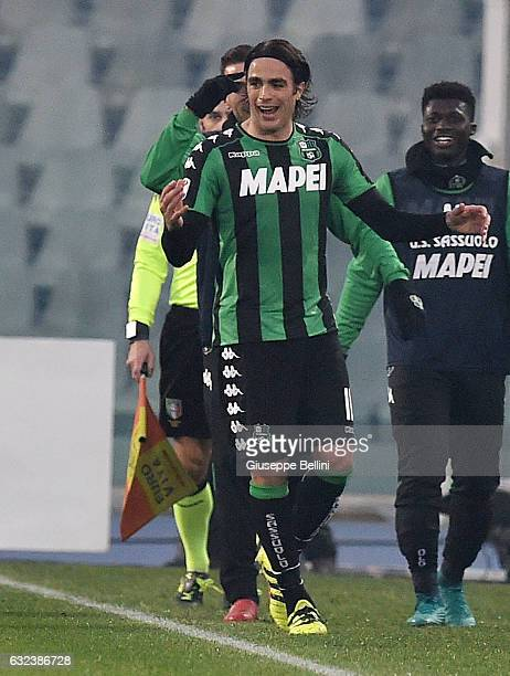 Alessandro Matri of US Sassuolo celebrates after scoring the goal 13 during the Serie A match between Pescara Calcio and US Sassuolo at Adriatico...