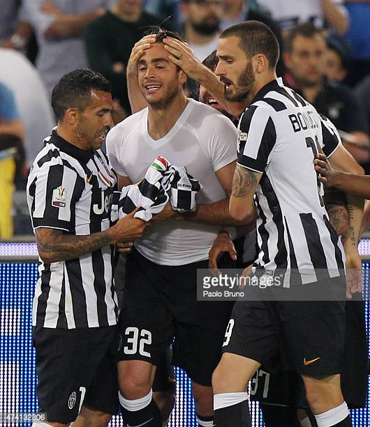 Alessandro Matri with his teammates of Juventus FC celebrates after scoring the team's second goal during the TIM Cup final match against SS Lazio at...