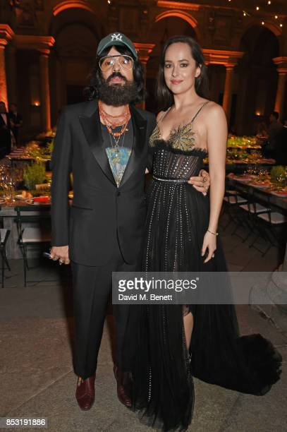 Alessandro Michele Gucci Creative Director and Dakota Johnson attend a private dinner hosted by Livia Firth following the Green Carpet Fashion Awards...
