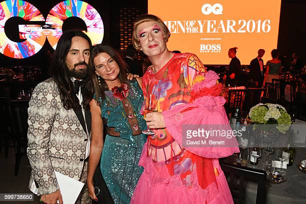 Alessandro Michele Natalie Massenet and Grayson Perry attend the GQ Men Of The Year Awards 2016 after party at the Tate Modern on September 6 2016 in...