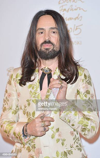 Alessandro Michele poses in the Winners Room at the British Fashion Awards 2015 at London Coliseum on November 23 2015 in London England