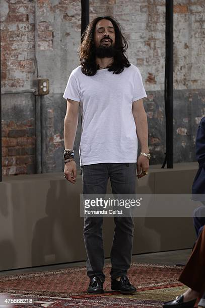 Alessandro Michele walks at Gucci Cruise 2016 Runway at Dia Art Foundation on June 4 2015 in New York City