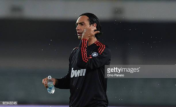 Alessandro Nesta of AC Milan celebrate victory after the Serie A match between AC Chievo Verona and AC Milan at Stadio Marcantonio Bentegodi on...