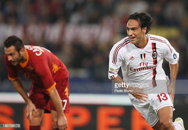 Alessandro Nesta of AC Milan celebrates after scoring a goal during the Serie A match between AS Roma and AC Milan at Stadio Olimpico on October 29...
