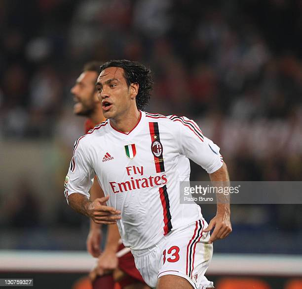 Alessandro Nesta of AC Milan celebrates scoring his team's second goal during the Serie A match between AS Roma and AC Milan at Stadio Olimpico on...