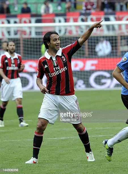Alessandro Nesta of AC Milan during the Serie A match between AC Milan and Novara Calcio at Stadio Giuseppe Meazza on May 13 2012 in Milan Italy
