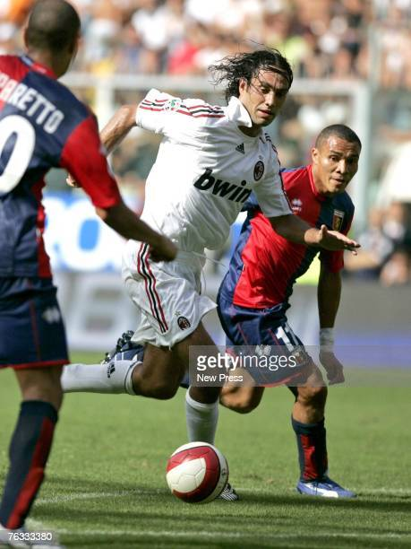 Alessandro Nesta of AC Milan in action against Julio Leon of Genoa during the Serie A match between Genoa and AC Milan at the Stadio Comunale Luigi...