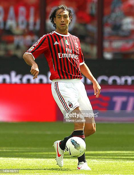 Alessandro Nesta of AC Milan in action during the Serie A match between AC Milan and Bologna FC at Stadio Giuseppe Meazza on April 22 2012 in Milan...