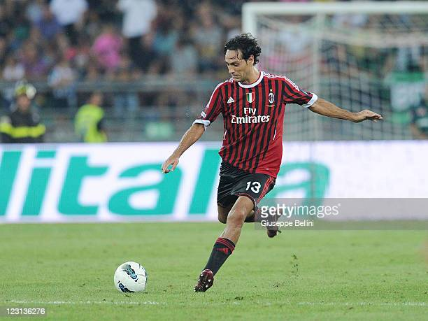 Alessandro Nesta of Milan in action during the match between AC Milan and Juventus FC during the TIM preseason tournament at Stadio San Nicola on...