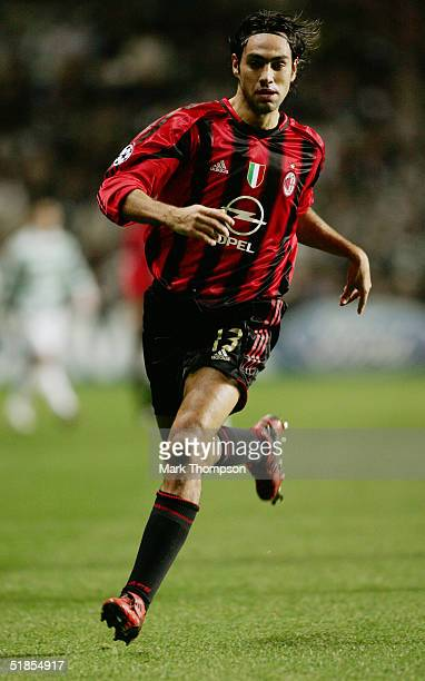 Alessandro Nesta of Milan in action during the UEFA Champions League Group F match between Celtic and AC Milan at Celtic Park on December 7 2004 in...