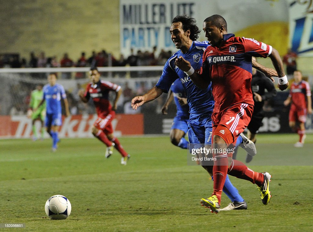 <a gi-track='captionPersonalityLinkClicked' href=/galleries/search?phrase=Alessandro+Nesta&family=editorial&specificpeople=213983 ng-click='$event.stopPropagation()'>Alessandro Nesta</a> #14 of Montreal Impact and Sherjill MacDonald #7, right, of the Chicago Fire in an MLS match on September 15, 2012 at Toyota Park in Bridgeview, Illinois. The Chicago Fire defeated the Montreal Impact 3-1.