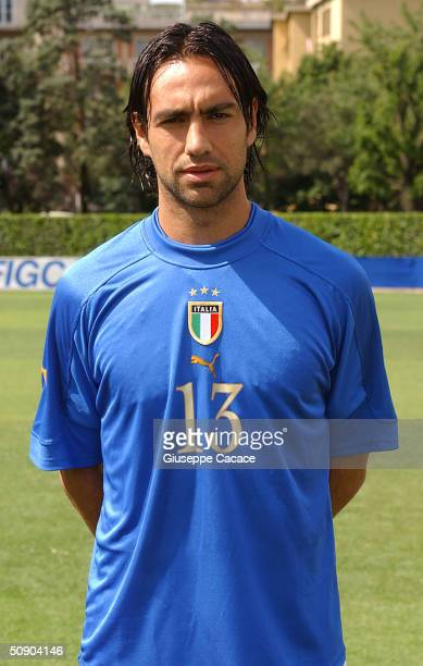 Alessandro Nesta of the Italian footlball team poses for photographer on May 27 2004 at Coverciano sports ground in Florence Italy The Italian team...