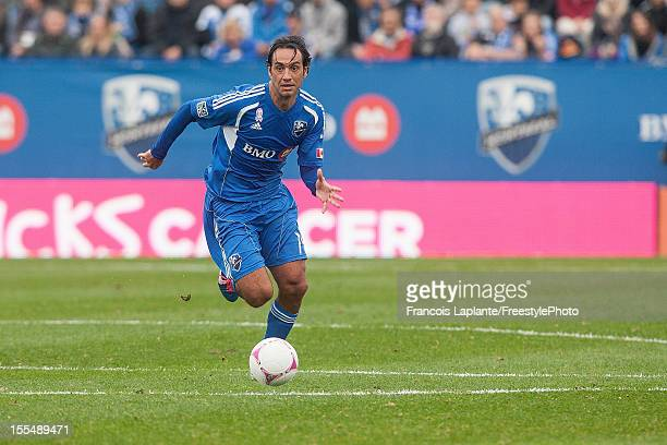 Alessandro Nesta of the Montreal Impact controls the ball against the New England Revolution during the MLS match at Saputo Stadium on October 27...