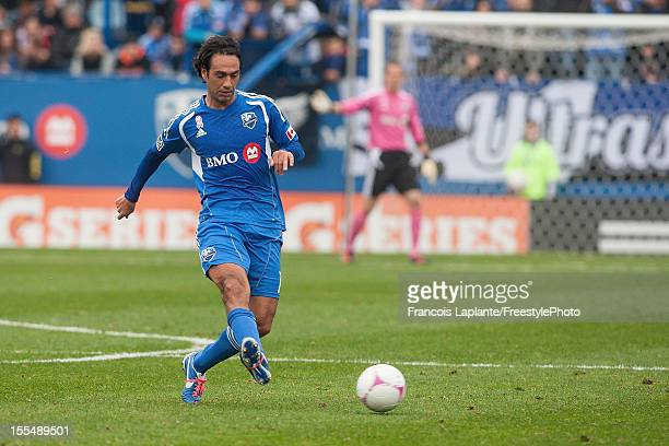 Alessandro Nesta of the Montreal Impact kicks the ball against the New England Revolution during the MLS match at Saputo Stadium on October 27 2012...