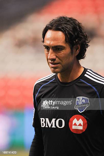 Alessandro Nesta of the Montreal Impact runs during warmups prior to a match against the Vancouver Whitecaps during the finals of the Amway Canadian...