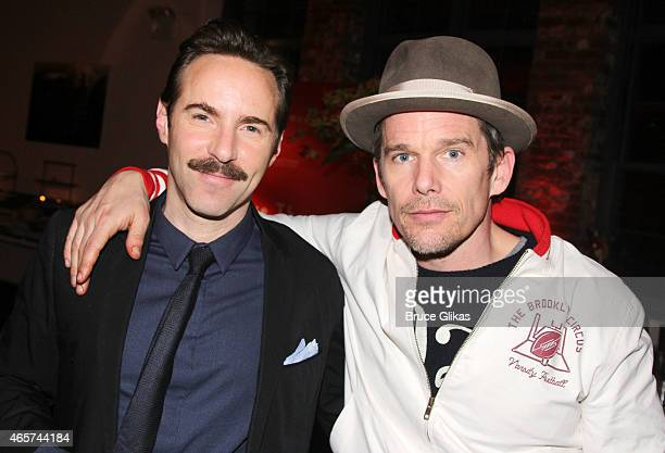 Alessandro Nivola and Ethan Hawke pose at The 20th Annual New Group Theater Company Gala at Tribeca Rooftop on March 9 2015 in New York City