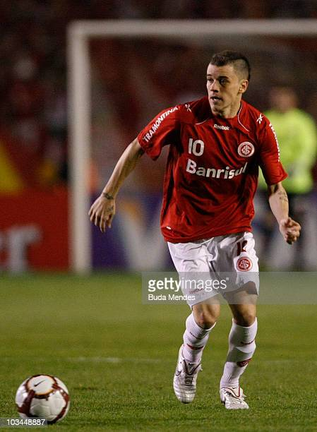 Alessandro of Internacional in action during a match against Chivas as part of the 2010 Copa Santander Libertadores at Beira Rio Stadium on August 18...