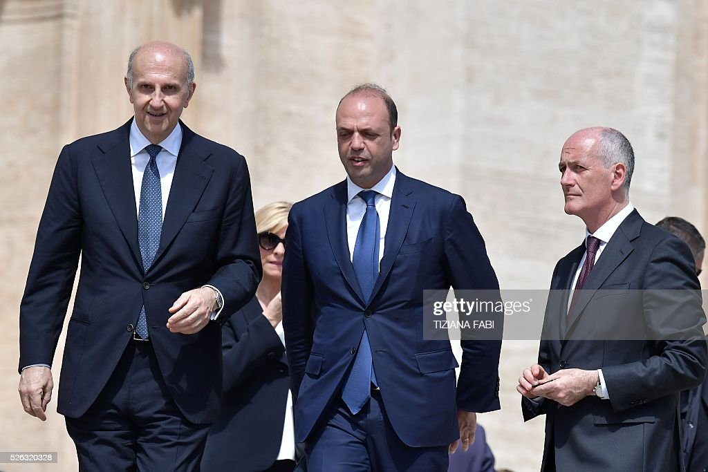 Alessandro Pansa (L), newly nominated, head of the Dis (Department of Information Security), Italian Interior Minister Angelino Alfano (C) and the new head of the Italian police, Franco Gabrielli (R), attend an audience of Pope Francis as part of the Jubilee Year of Mercy on April 30, 2016 at St Peter's square in Vatican.