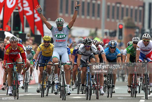 Alessandro Petacchi of Italy and LPR Brakes Ballan celebrates as he wins stage 8 of the Tour of Britain on September 14 2008 in Liverpool England