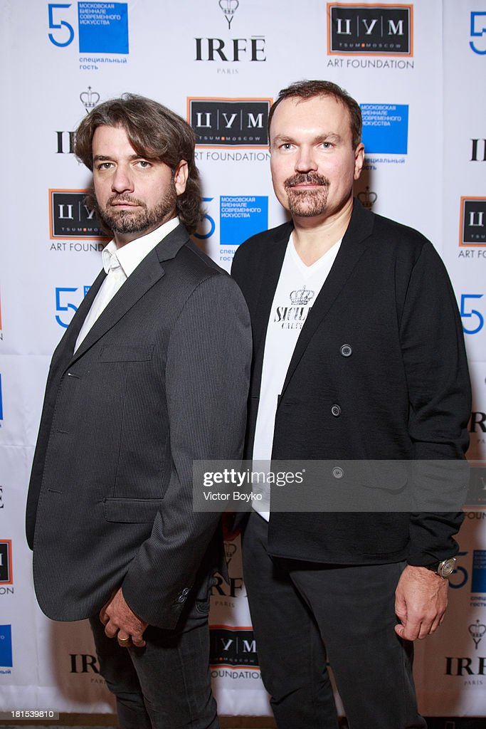 Alessandro Pindili and Andrey Strukov attends the dinner celebrating the opening of Vadim Zakharov's 'Dead Languages Dance' special project as part of the 5th Moscow Modern Art Biennale on September 18, 2013 in Moscow, Russia.