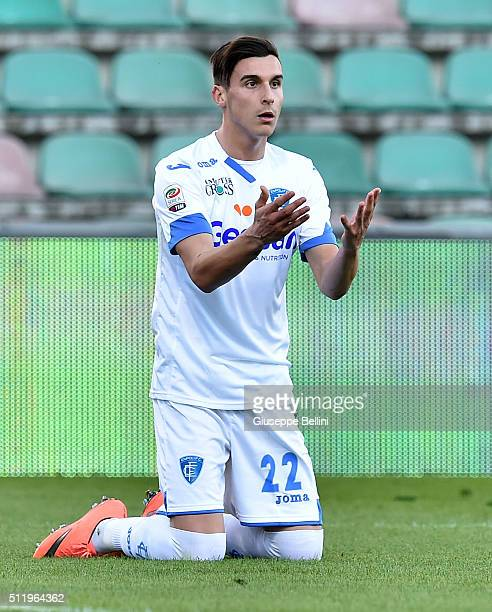 Alessandro Piu of Empoli in action during the Serie A match between US Sassuolo Calcio and Empoli FC at Mapei Stadium Città del Tricolore on February...