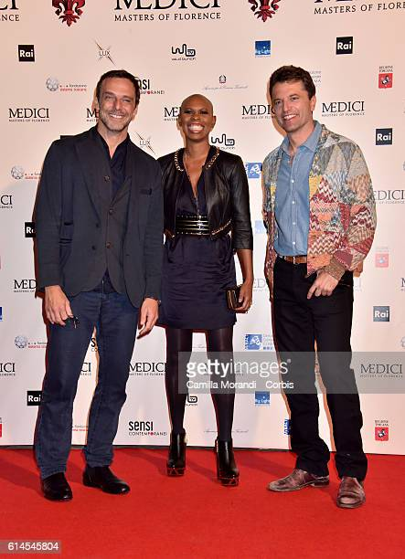 Alessandro Preziosi Skin and Guido Caprino attend a photocall for 'I Medici' on October 14 2016 in Florence Italy