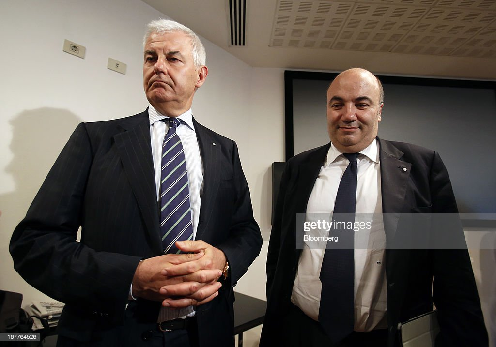 <a gi-track='captionPersonalityLinkClicked' href=/galleries/search?phrase=Alessandro+Profumo&family=editorial&specificpeople=703319 ng-click='$event.stopPropagation()'>Alessandro Profumo</a>, chairman of Banca Monte dei Paschi di Siena SpA, left, and Fabrizio Viola, chief executive officer of Banca Monte dei Paschi di Siena SpA, listen during a news conference following the company's annual general meeting in Siena, Italy, on Monday, April 29, 2013. An Italian judge rejected a request by prosecutors to seize as much as 1.95 billion euros ($2.5 billion) of assets held by Nomura Holdings Inc. as they probed how Banca Monte dei Paschi di Siena SpA used derivatives to conceal losses. Photographer: Alessia Pierdomenico/Bloomberg via Getty Images