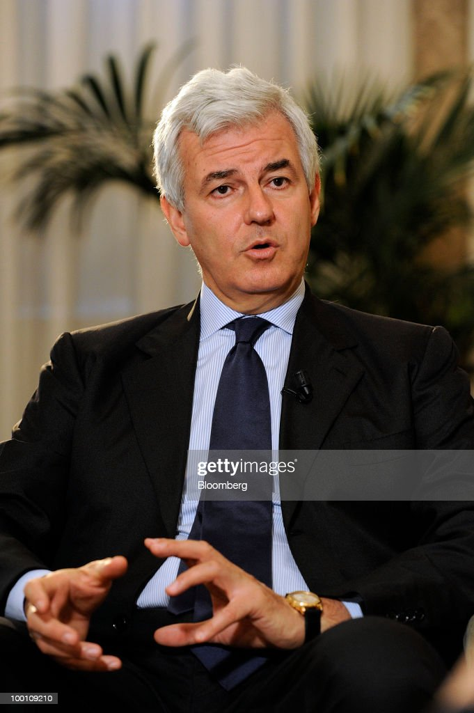 Alessandro Profumo, chief executive officer of UniCredit SpA, gestures while speaking during an interview in the bank's headquarters in Milan, Italy, on Friday, May 21, 2010. Profumo said that contagion from Greece's debt crisis will be managed and that Europe should concentrate on growth and not just cutting public debt. Photographer: Giuseppe Aresu/Bloomberg via Getty Images