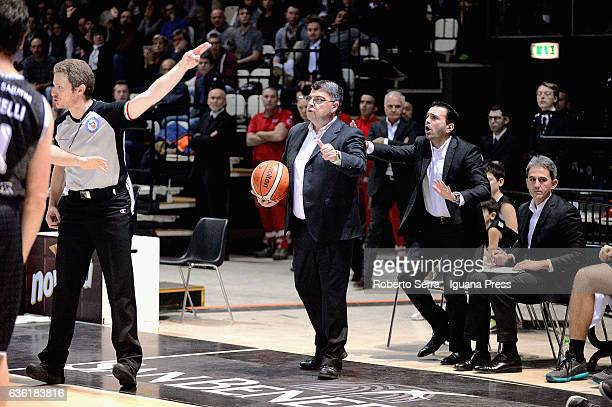 Alessandro Ramagli head coach of Segafredolooks over during the match of LNP LegaBasket Serie A2 between Virtus Segafredo Bologna and Scaligera...
