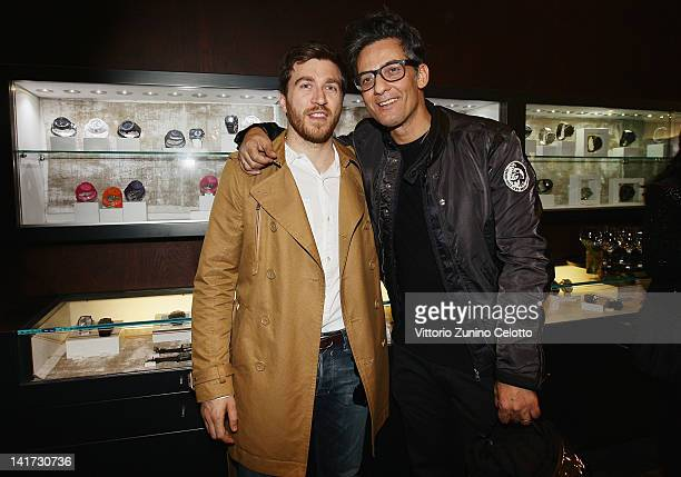 Alessandro Roja and Rosario Fiorello attend the 'Diesel Together With Ducati' cocktail party on March 22 2012 in Rome Italy