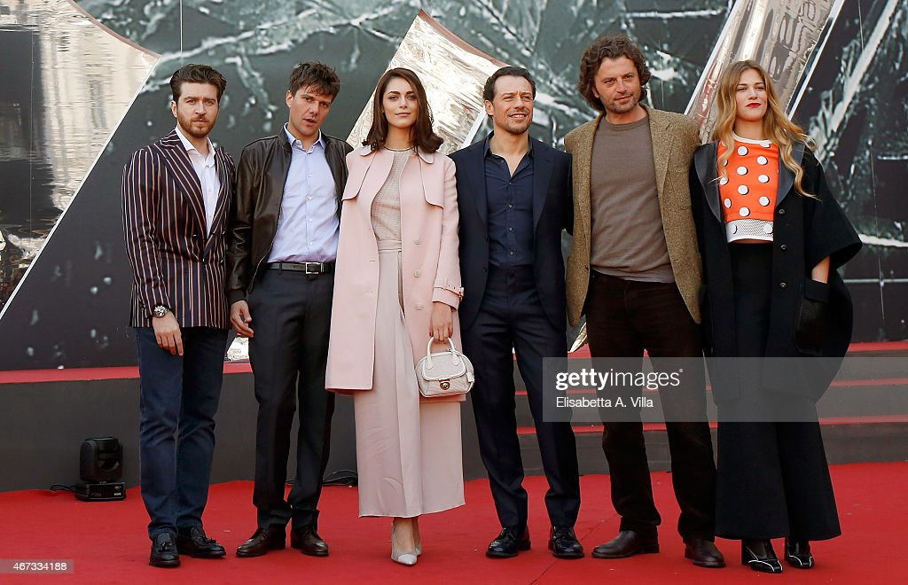 Alessandro Roja, Domenico Diele, Miriam Leone, Stefano Accorsi, Guido Caprino and Tea Falco attend '1992' Tv Movie photocall at Cinema Moderno The Space on March 23, 2015 in Rome, Italy.