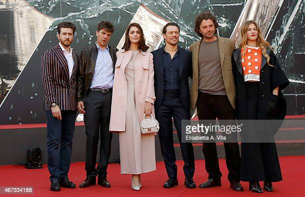 Alessandro Roja Domenico Diele Miriam Leone Stefano Accorsi Guido Caprino and Tea Falco attend '1992' Tv Movie photocall at Cinema Moderno The Space...