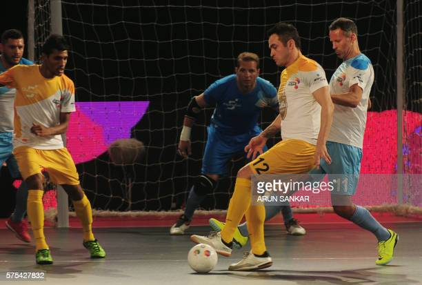 Alessandro Rosa Viera also known as Falcao from the Chennai 5's plays against the Mumbai 5's during their Premier Futsal Football League match in...