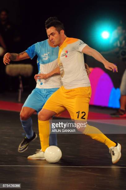 Alessandro Rosa Viera from the Chennai 5's plays against the Mumbai 5's during their Premier Futsal Football League match in Chennai on July 15 2016...