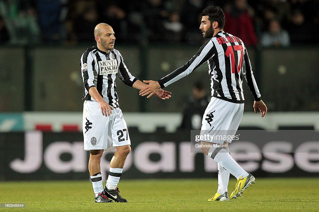 Alessandro Rosina (L) of AC Siena celebrates after scoring a goal during the Serie A match between AC Siena and S.S. Lazio at Stadio Artemio Franchi on February 18, 2013 in Siena, Italy.