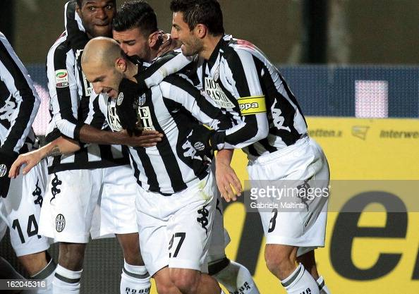 Alessandro Rosina of AC Siena celebrates with teammates after scoring a goal during the Serie A match between AC Siena and SS Lazio at Stadio Artemio...