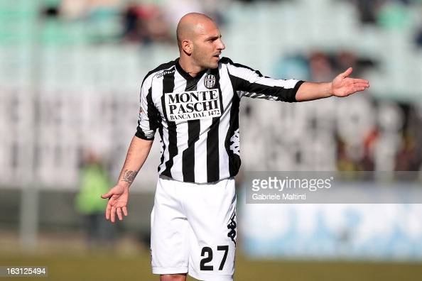 Alessandro Rosina of AC Siena gestures during the Serie A match between AC Siena and Atalanta BC at Stadio Artemio Franchi on March 3 2013 in Siena...