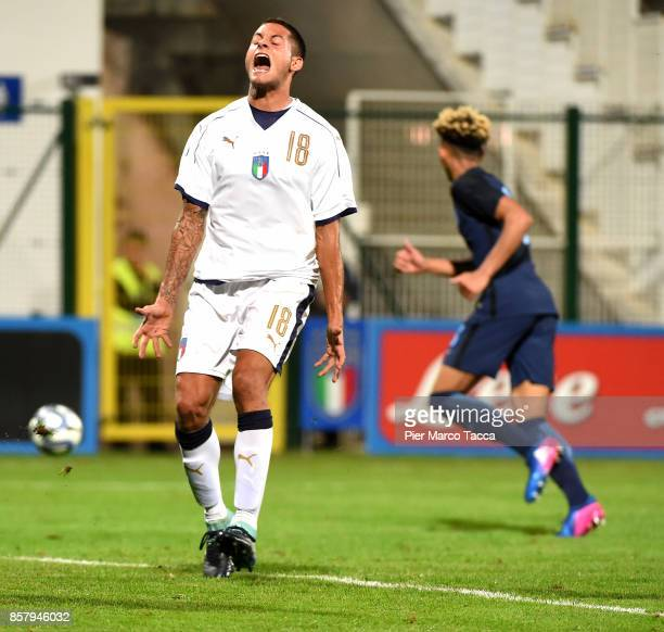 Alessandro Rossi of Italy U20 disappointed during the 8 Nations Tournament match between Italy U20 and England U20 on October 5 2017 in Gorgonzola...