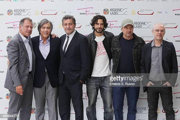 Alessandro Salem Carlo Freccero Pietro Valzecchi Marco Bocci Giovanni Veronesi and Daniele Lucchetti attend the Press Conference of Taodue photocall...