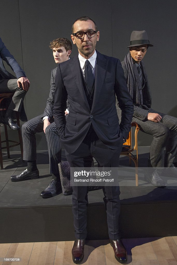 Alessandro Sartori, Berluti's artistic director, attends the Berluti Men Autumn / Winter 2013 presentation at the Great Gallery of Evolution in the National Museum of Natural History, as part of Paris Fashion Week on January 18, 2013 in Paris, France.