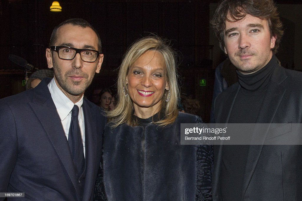 Alessandro Sartori, Berluti's artistic director, Helene Arnault, the wife of Bernard Arnault, and <a gi-track='captionPersonalityLinkClicked' href=/galleries/search?phrase=Antoine+Arnault&family=editorial&specificpeople=676045 ng-click='$event.stopPropagation()'>Antoine Arnault</a>, Berluti's chief executive, attend the Berluti Men Autumn / Winter 2013 presentation at the Great Gallery of Evolution in the National Museum of Natural History, as part of Paris Fashion Week on January 18, 2013 in Paris, France.