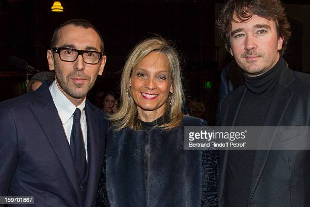 Alessandro Sartori Berluti's artistic director Helene Arnault the wife of Bernard Arnault and Antoine Arnault Berluti's chief executive attend the...