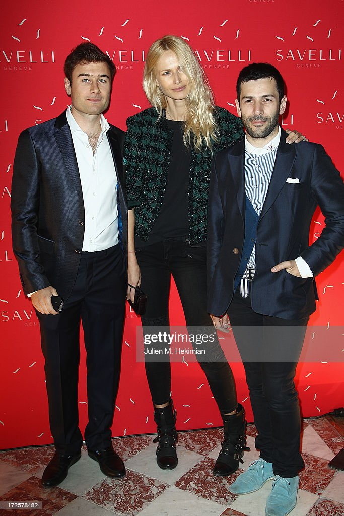 Alessandro Savelli, Inge Savits-Hanon and Alexis Mabille attend the Founder And CEO Alessandro Savelli And Contemporary Style Icon Julia Restoin Roitfeld Launch SAVELLI The World's First Luxury Smart Phone Especially For Women During Haute Couture Week at Musee Jacquemart-Andre on July 3, 2013 in Paris, France.