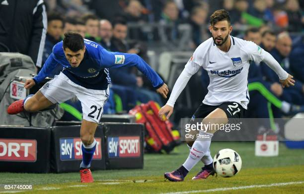 Alessandro Schoepf of FC Schalke 04 and Marvin Plattenhardt of Hertha BSC during the game between FC Schalke 04 and Hertha BSC on February 11 2017 in...