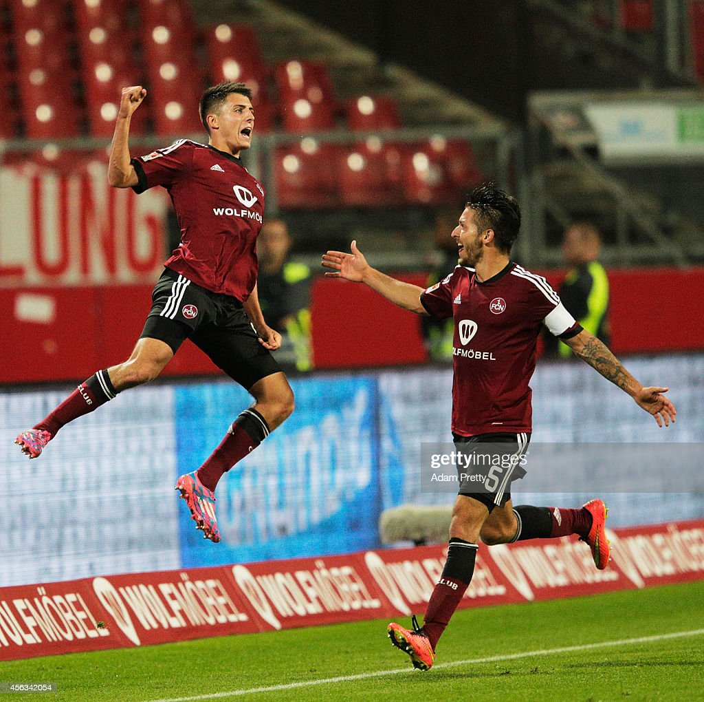 Alessandro Schoepf of Nuernberg celebrates after scoring a goal during the FC Nuernberg v 1 FC Kaiserslautern 2 Bundesliga match at GrundigStadion on...