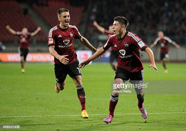 Alessandro Schoepf of Nuernberg celebrates after scoring his second goal during the FC Nuernberg v 1 FC Kaiserslautern 2 Bundesliga match at...