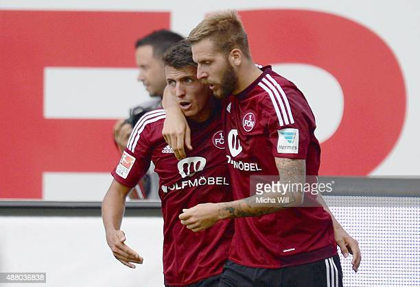 Alessandro Schoepf of Nuernberg celebrates with Guido Burgstaller of Nuernberg after scoring his team's second goal during the second Bundesliga...