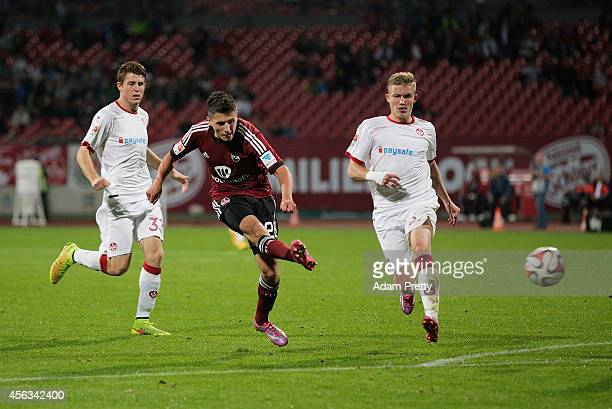 Alessandro Schoepf of Nuernberg scores his second goal during the FC Nuernberg v 1 FC Kaiserslautern 2 Bundesliga match at GrundigStadion on...
