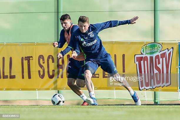 Alessandro Schoepf of Schalke and Fabian Reese of Schalke battle for the ball during the Training Camp of FC Schalke 04 at Hotel Melia Villaitana on...